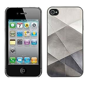 TopCaseStore / la caja del caucho duro de la cubierta de protección de la piel - Metal Sheet Paper Silver Polygon Pattern - Apple iPhone 4 / 4S