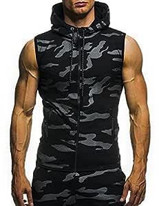 Camisa deportiva con cremallera y gorro para los hombres, camiseta sin mangas con cremallera y estampado de camuflaje para hombre