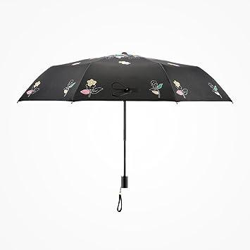 pllp Paraguas plegable de fibra de carbono, pequeñas sombrillas femeninas pintadas a mano hermosas frescas