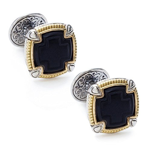Konstantino Men's Silver Gold and Black Onyx Square Ares Cufflink