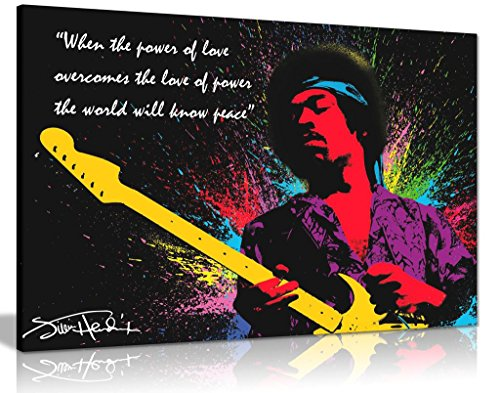Jimi Hendrix Canvas - Jimi Hendrix Quote Colour Splash Canvas Wall Art Picture Print (30x20in)