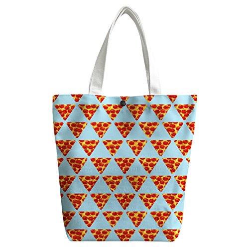 Violetpos Benutzerdefiniert Canvas Handtasche Einkaufstaschen Umhängetasche Schultasche Lunch-Tasche Lustiges Pizza Rot Vw1jz