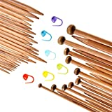 #10: TecUnite Carbonized Smooth Bamboo Knitting Needles Set Including Double Pointed and Single Pointed and Stitch Markers Knitting Stitch Counter