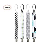 Kyapoo Pacifier Clips 4 Pack Unisex Baby Pacifier Teething Holder