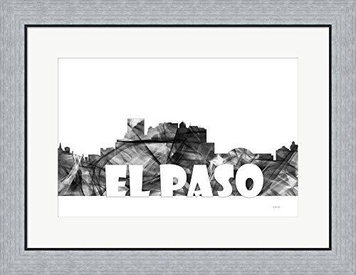 El Paso Texas Skyline BG 2 by Marlene Watson Framed Art Print Wall Picture, Flat Silver Frame, 26 x 20 - El Paso Framing