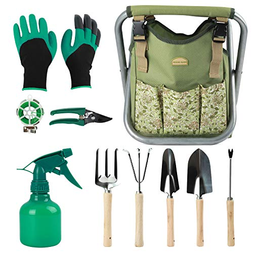 12 pcs Garden Tools Stool, Gardening Hand Tools Set with Folding Chair Seat and Garden Storage Tote Bag, Garden Tools…
