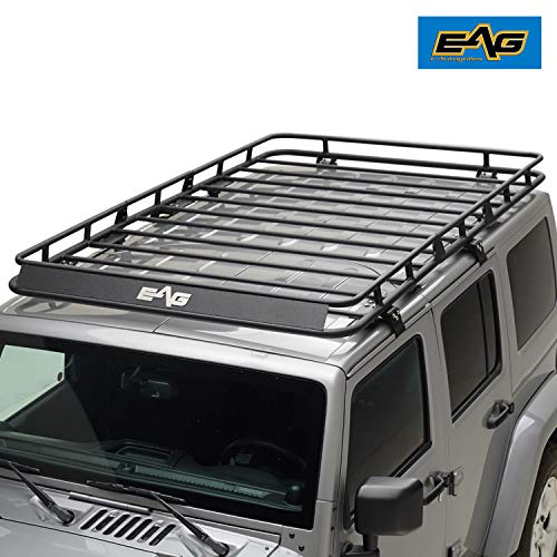 EAG 4 Door Roof Rack Cargo Basket W/Wind Deflector for 07-18 Jeep Wrangler JK (4.9′ x 7.8′ x 5.5″)
