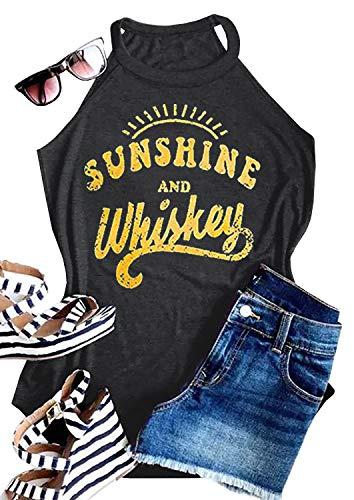 Sunshine T-shirt Day - IRISGOD Womens High Neck Tank Tops Summer Graphic Sunshine and Whiskey Sleeveless Country Drinking Shirts