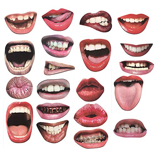 Autohigh 20 Lip Photo Booth Props on Sticks DIY Funny Mouth Realistic Party Graduation Props (20 Pieces - Mouth)