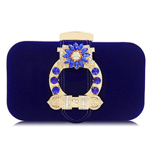 Embrayages soirée Top Main Femmes qualité à Embrayage Daim blue de Femme Mariage Sac Sacs Sacs KYS Dames qfz5wz