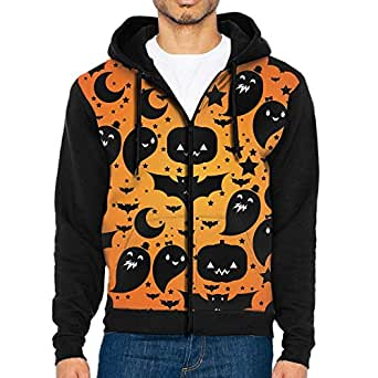 Funny Halloween Pumpkin Ghost 3d Raglan Hoodie Zip Pockets Color Block Hoodies 90s For Men