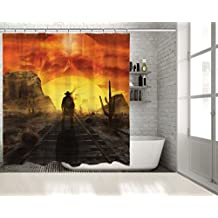 "PositiveHome Ghost Cowboy Illustration Of A Mystic Cowboy Ghost Standing On A Western Desert Railroad On A Sunset With Sun In Skull Shape Long Shower Curtain 70"" wide X 78"" long"