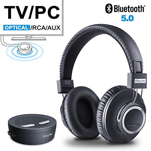 Wireless TV Headphones Bluetooth Transmitter & Receiver Set - Bluetooth 5.0 and aptX Low Latency Technology Adapter with Optical, 3.5mm AUX, RCA, High Fidelity Reproduction Headset for TV/Phones/PC