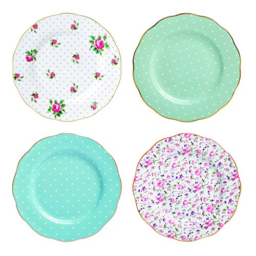 Tea Rose Accents - Royal Albert New Country Roses Tea Party Mixed Patterns Accent Plates (Set of 4), 8