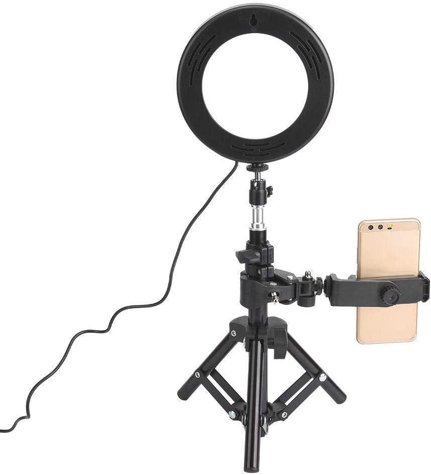 6 Inch LED Ring Fill Light with Foldable Tripod,3000-6000K Dimmable Desktop Selfie Round Photography Fill Lamp,USB Power Supply 1//4 inch Screw for Makeup Phone Live Broadcast Beauty