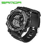 Delight eShop SANDA Waterproof Date Week Silicone Digital Analog Alarm Mens Sport Wrist Watch (Black&Gray)