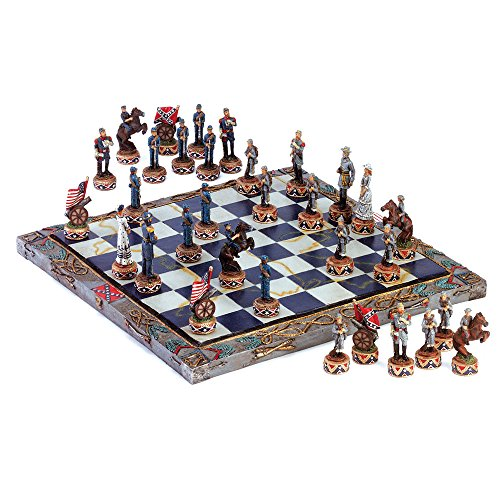 Koehler 34736 14.625 Inch Multicolored Civil War Chess Set