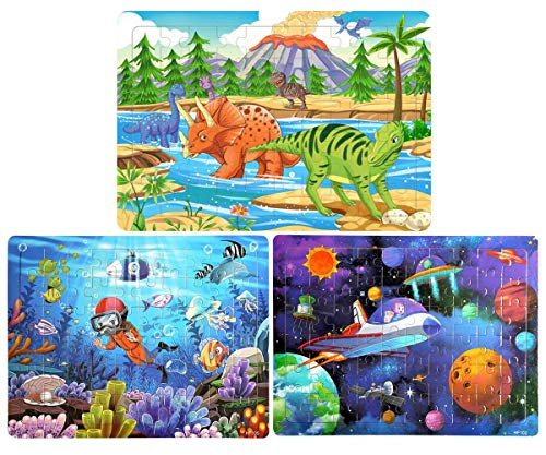 Wooden Jigsaw Puzzles Set for Kids Age 2-8 Year Old 60 Piece Colorful Wooden Puzzles for Toddler Children Learning Educational Puzzles Toys for Boys and Girls (3 Puzzles)