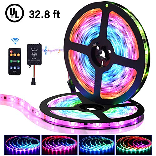 LED Strip Lights with Remote - 32.8 ft Waterproof LEDs Strip Light with Color Changing Music Sync