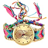 SODIAL Handmade Braided Dreamcatcher Friendship Bracelet Watch Rope Watch Ladies Quartz Watches-color 1
