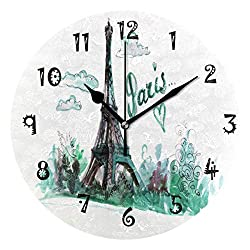 One Bear Eiffel Tower Green Watercolor Painting Round Wall Clock, Paris Town Silent Battery Operated Non Ticking Acrylic Wall Clocks for Home Office School Clock Art Decorative