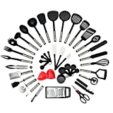 NEXGADGET Premium 42 Piece Kitchen Utensils Cookware Set with Stainless Steel and Nylon Cooking Tools Including Spoon, Turners, Tongs, Whisk, Can Opener, Peeler, Scraper, Measuring Jug and Spoon