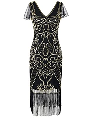 Kayamiya Women's 1920s Dress With Sleeve Sequin Art Deco Cocktail Flapper Dress