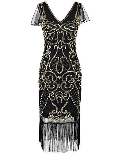 Kayamiya Women's Vintage Gatsby Dress 1920s V Neck Inspired Sequin Fringe Flapper Dress XL Gold