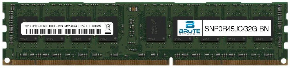 SNP0R45JC/32G - Dell Compatible 32GB PC3-10600 DDR3-1333Mhz 4Rx4 1.35v ECC Registered RDIMM