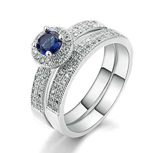 Artcarved Set Ring - FENDINA Womens Luxurious 18K White Gold Plated Wedding Engagement Bands Created Solitaire Sapphire Anniversary Promise Rings Set