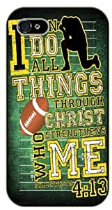 iPhone 5C Bible Verse - Football. I can do all things through Christ. Philippians 4:13 - black plastic case / Verses, Inspirational and Motivational, sports