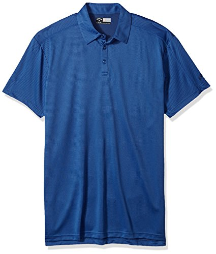 Callaway Men's Big & Tall Opti-Dri Short Sleeve Denim Jacquard Polo with Stitch Detailing, 3X, Bright Cobalt