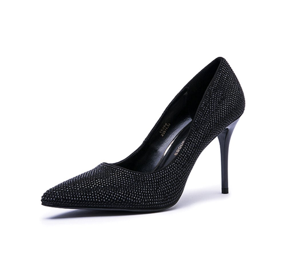 Dream Chaser Ms. Wedding Shoes New Spring And Summer Sexy Pointed High-heeled Models (Color : Black, Size : 34)