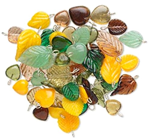Fall Lampwork Beads (Glass Heart and Leaf Charms Beads Jewelry Design Mix Sold per 100 gram pkg, approximately 100 drops (Green Brown Mix))