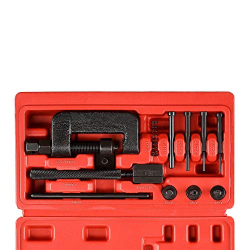 Drive Cam Chain Link Breaker, Master Chain Press Riveting Cutter Removal Repair Tool Kit for Motorcycle, Bike, ATV and Dirt-Bike, 13-Piece Set