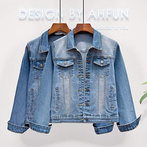 Denim colore In Corto Maniche Per Xs Nz Azzurro Scuro Blu A Cappotto Donna Corte Dimensioni zp1wnXqB