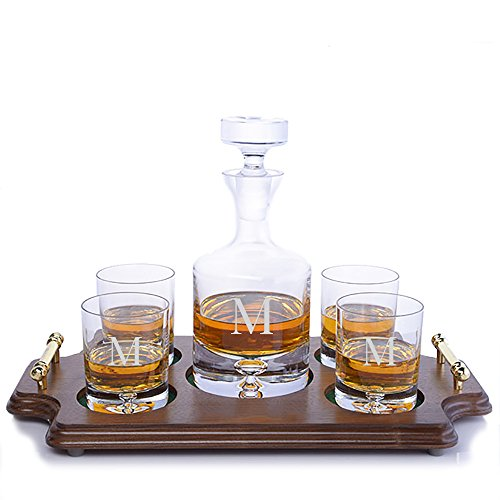 (Personalized Ravenscroft Lead-free Crystal Taylor Whiskey Liquor Decanter & 4 Rocks Glasses with Walnut Serving & Presentation Tray with Brass Handles Engraved & Monogrammed - Wedding Gift -)