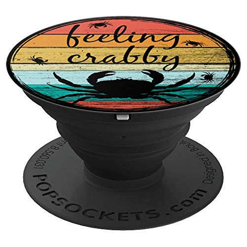 (Feeling Crabby Retro Crabs Beach Ocean Lovers Summer Surf - PopSockets Grip and Stand for Phones and Tablets)
