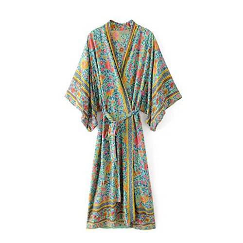 R.Vivimos Women Vintage Floral Print Beach Boho Cardigan Kimono Maxi Swimwear Cover up Dress Wrap (Vintage Kimono Print Dress)