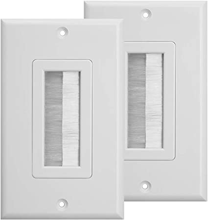 Brush Style Opening Passthrough Cable Plate with Low Voltage Mounting Bracket TENINYU Single Gang Wall Plate 1, Brush + Mounting Bracket