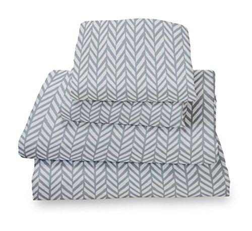 Where The Polka Dots Roam XL Twin Sheet Set Blue Gray Herringbone - Double Brushed Ultra Microfiber Luxury Bedding Set