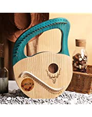 Lyre Harp 24 Strings, Metal Strings Wooden Lye Harp, Mahogany Lye Harp with Tuning Wrench, Bag Gift for Beginners Instrument Lovers Music Lovers Kids Adult