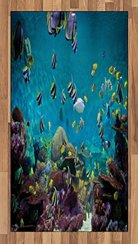 Lunarable Ocean Theme Area Rug, Untouched Wild Underwater Aquatic World Corals Exotic Fishes Seascape, Flat Woven Accent Rug Living Room Bedroom Dining Room, 2.6 x 5 FT, Purple Aqua Lilac