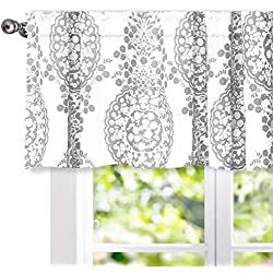 "DriftAway Samantha Window Treatment Valance, Floral/Damask Medallion pattern, Rod Pocket, 52""x18"" (gray)"