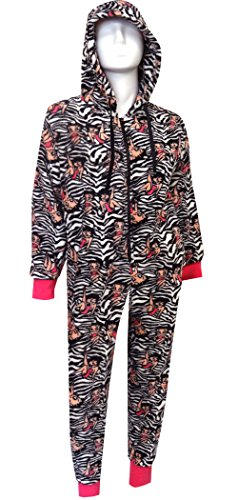 Betty Boop Black And White Zebra Plush One Piece Hoodie Pajama for women (X-Large)