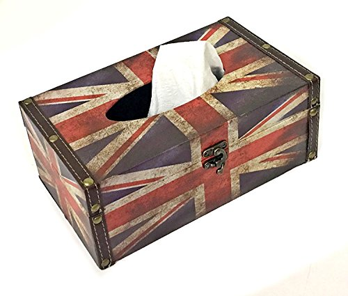 Bellaa 28243 Tissue Box Holder British Union Jack Flag Refillable Dispenser Cover ()