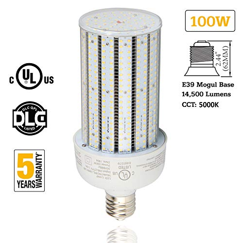 100W LED Corn Bulb 400W Metal Halide Replacement 5000K Pure White E39 Mogul Base Warehouse Highbay Parking Lot Retrofit Light AC100-277V UL DLC Listed