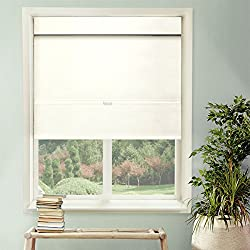 "CHICOLOGY Cordless Magnetic Roman Shades/Window Blind Fabric Curtain Drape, Thermal, Light Filtering - Mountain Snow, 23"" W X 64"" H"