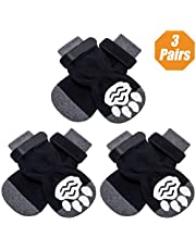 KOOLTAIL Anti-Slip Dog Socks with Strap 3 Pairs - Non Skid Knit Dogs Boot Rubber Sole Traction Control Paw Protectors for Dog Cat Indoor Wear