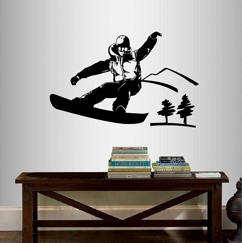 Wall Vinyl Decal Home Decor Art Sticker Snowboard Guy Boy Man Snowboarder Winter Extreme Sports Room Removable Stylish Mural Unique ()